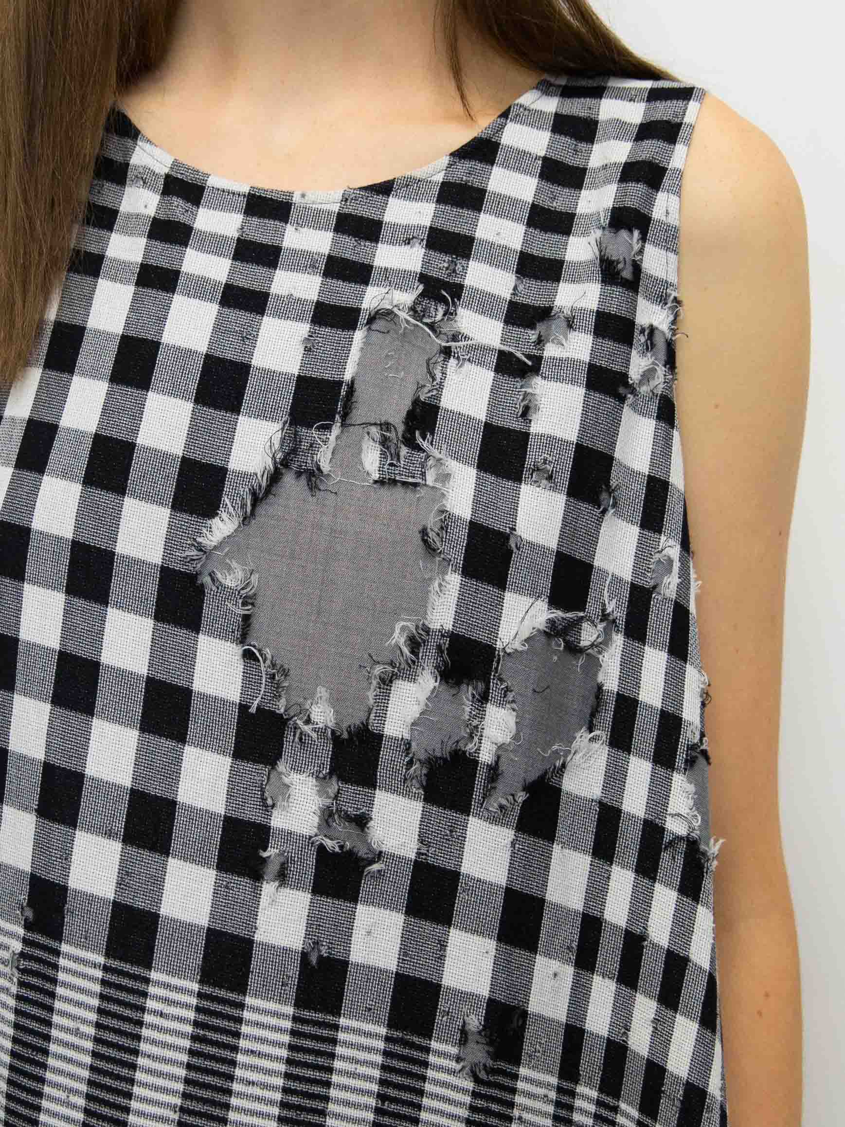 Y's Double Cloth Distressed Gingham Dress