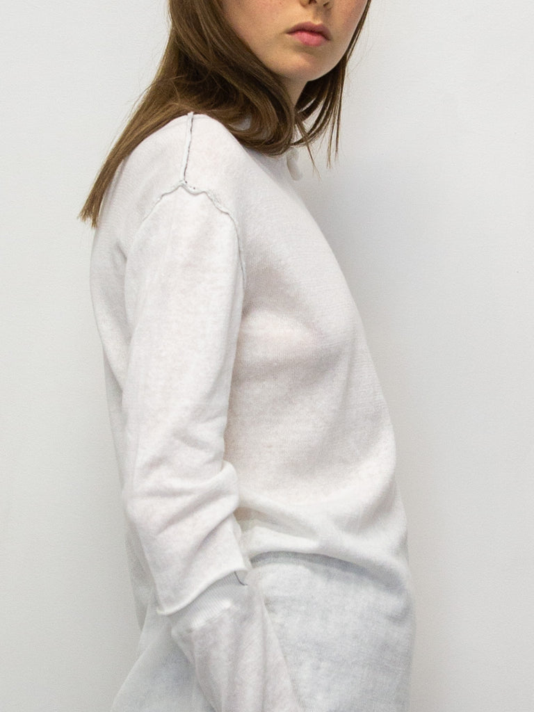 Y's Lightweight Knit with Contrast Stitching and Open Sleeve Detail