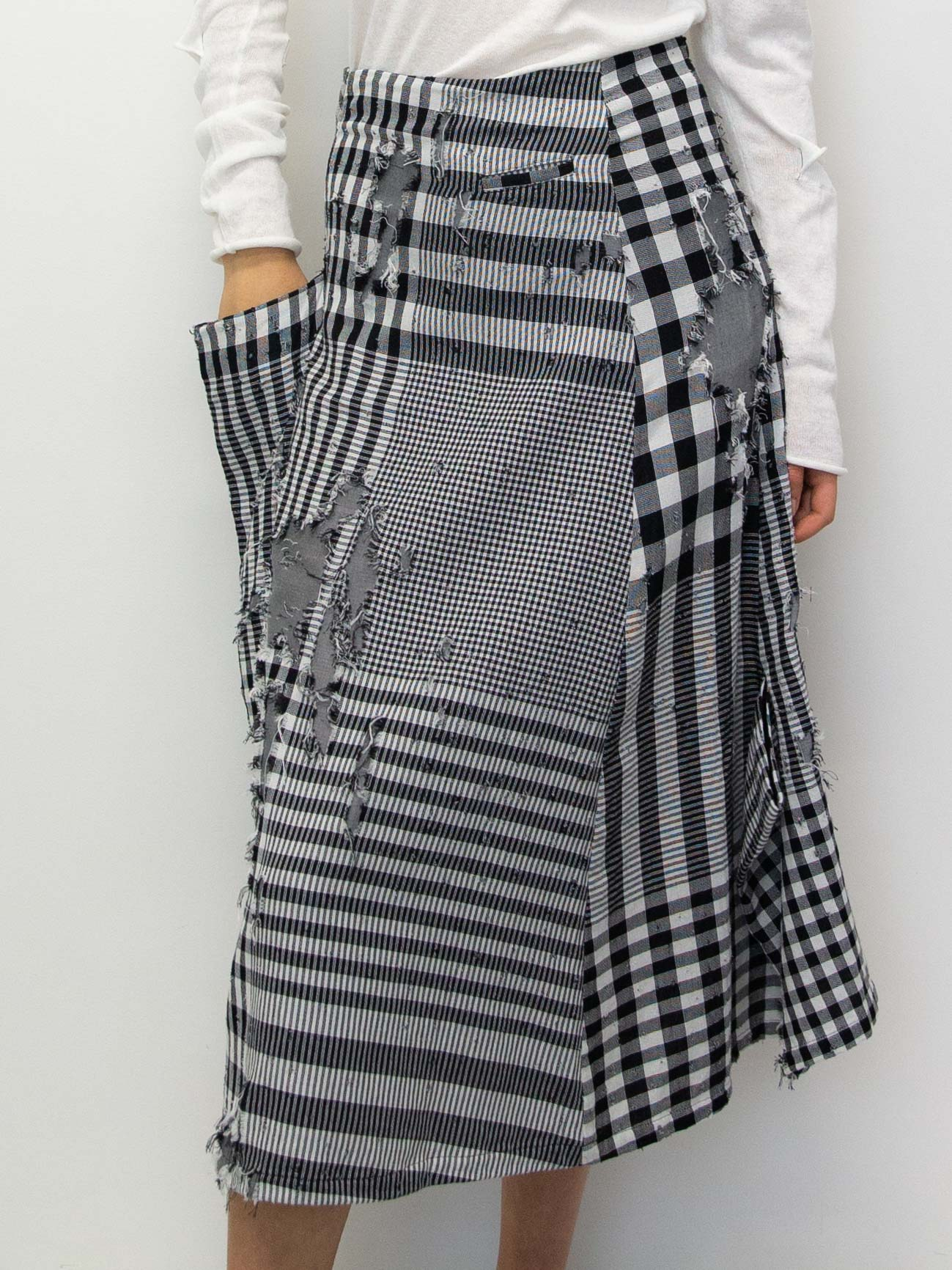 Y's Double Cloth Distressed Gingham Skirt
