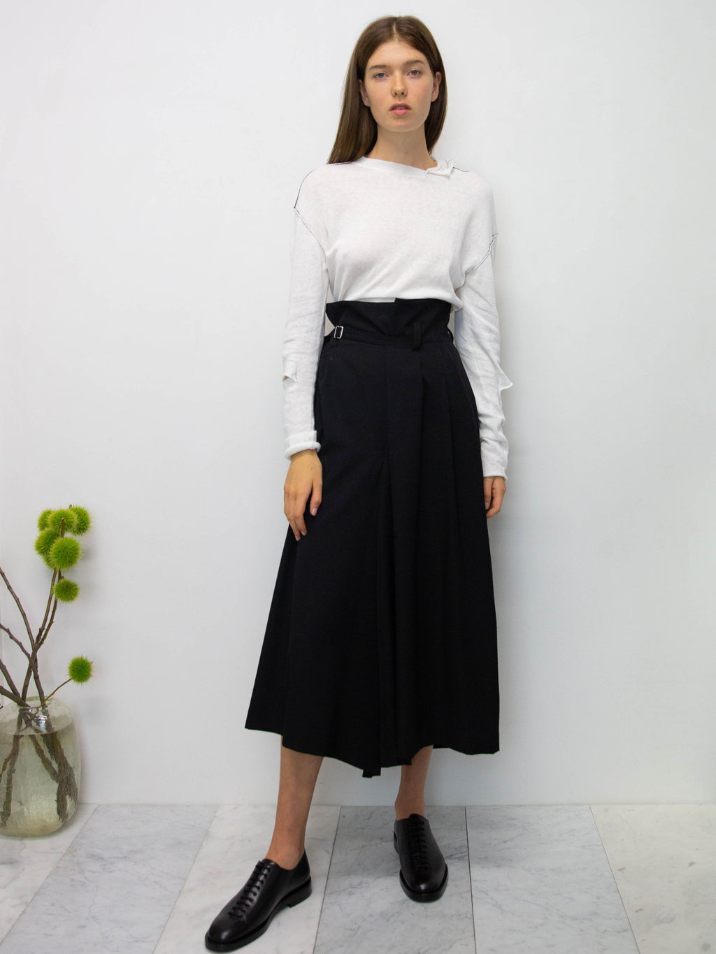 Y's High Waist Wide Wool Pants with Belt