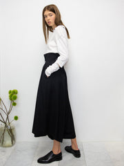 High Waist Wide Wool Pants with Belt