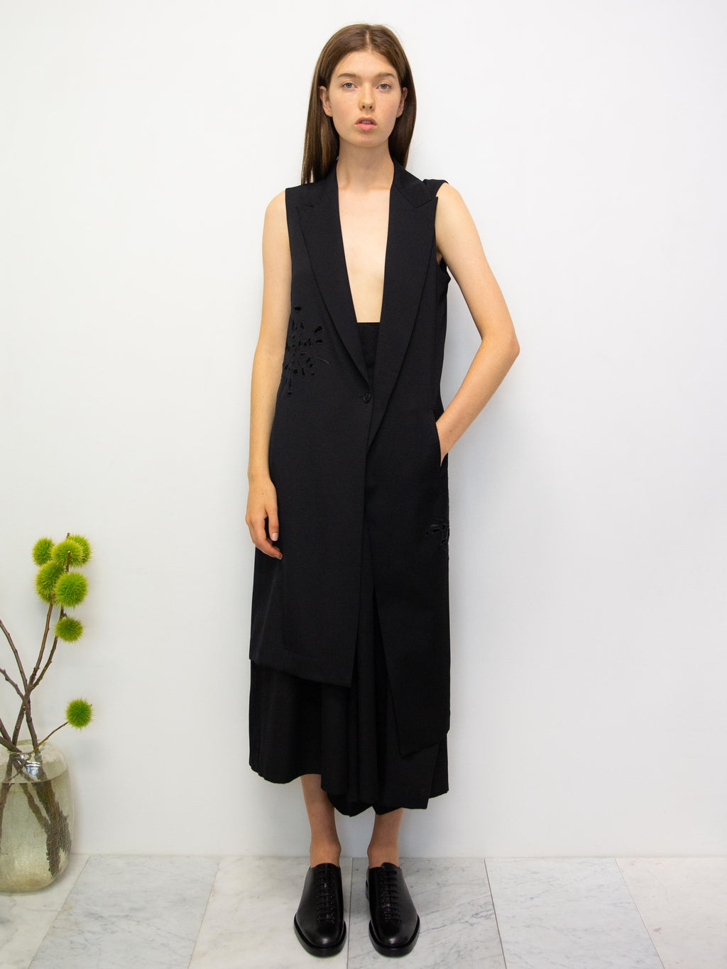 Y's Asymmetrical Sleeveless Jacket with Cutout Detail