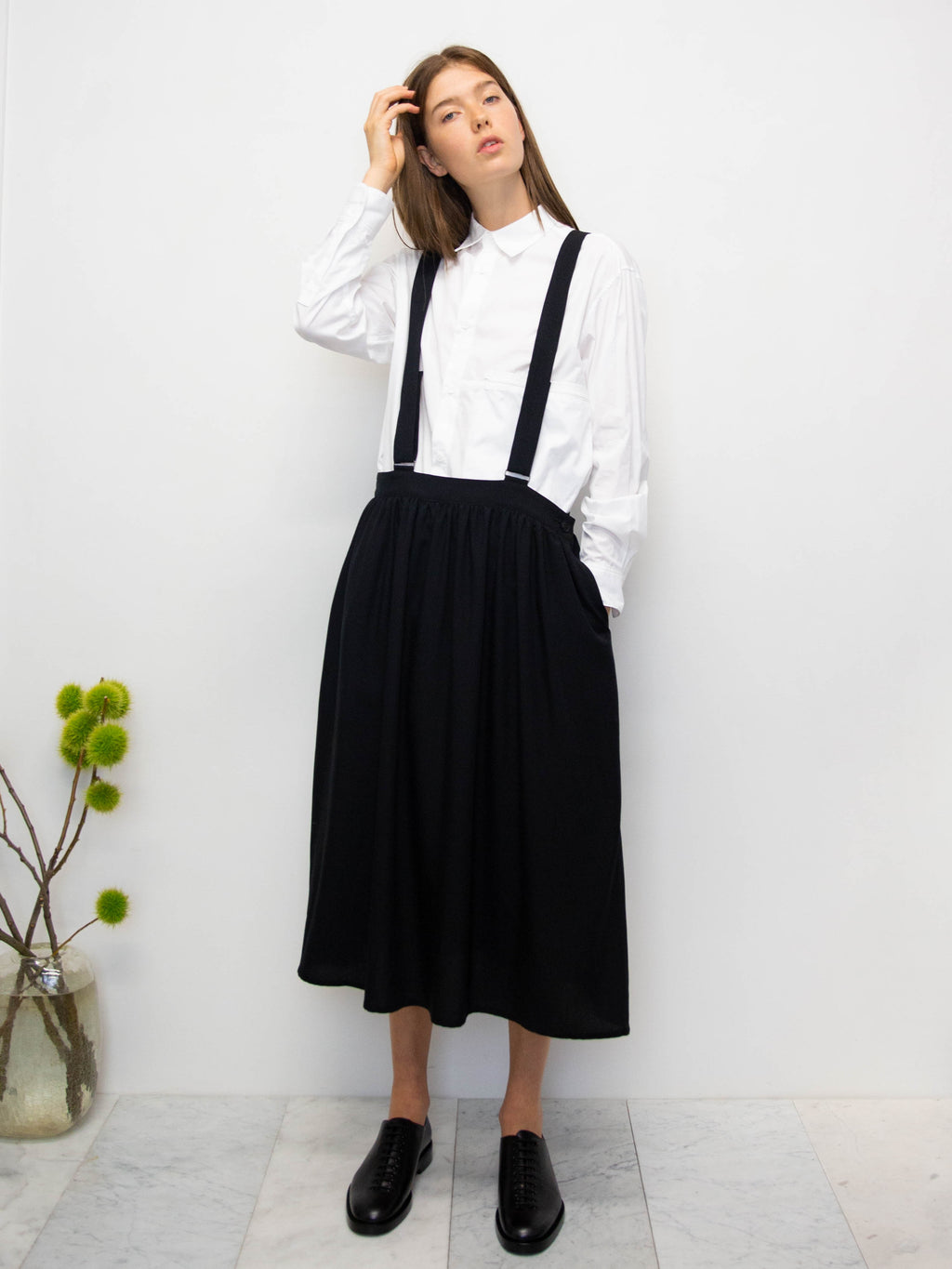 Y's Gathered Skirt with Suspender Detail