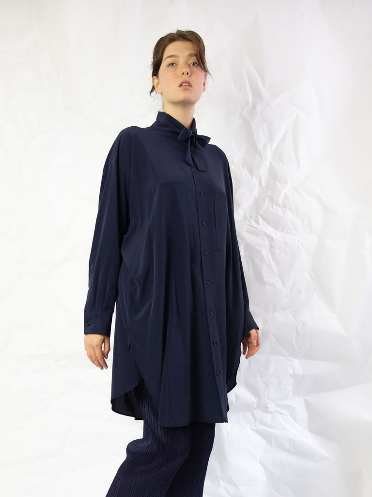 Tie Neck Shirt Dress