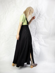 Linen Blend High Waist Button Skirt