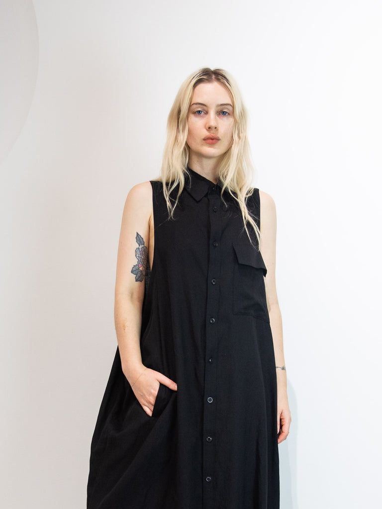 Flap Pocket Sleeveless Shirt Dress