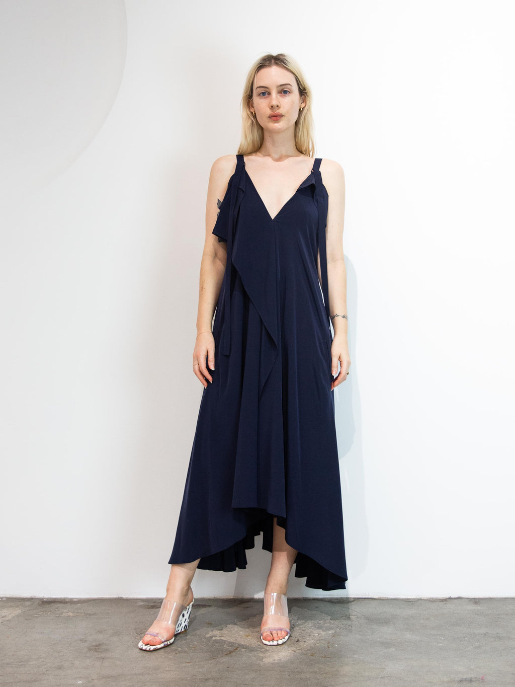 A line Dress With Drape Front - Navy