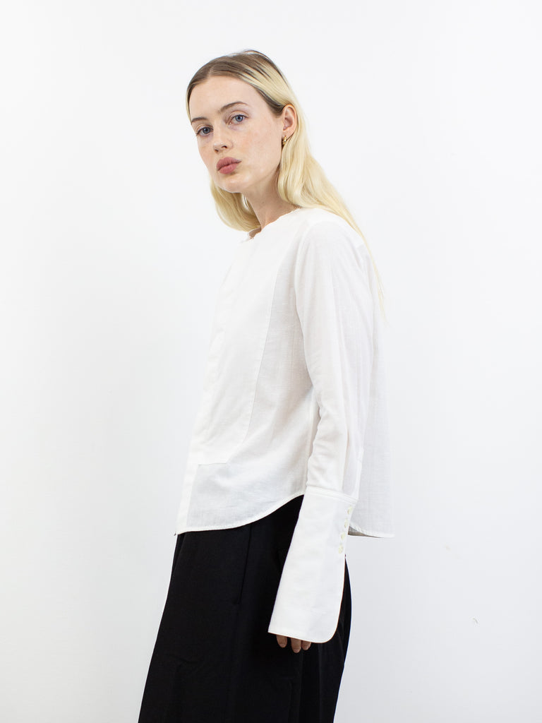 Collarless Cotton Blouse