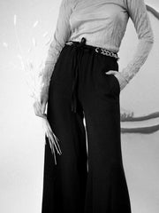 Chain Belt Crepe Pants