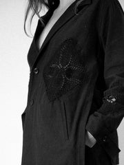Crochet Patch Assymmetrical Jacket