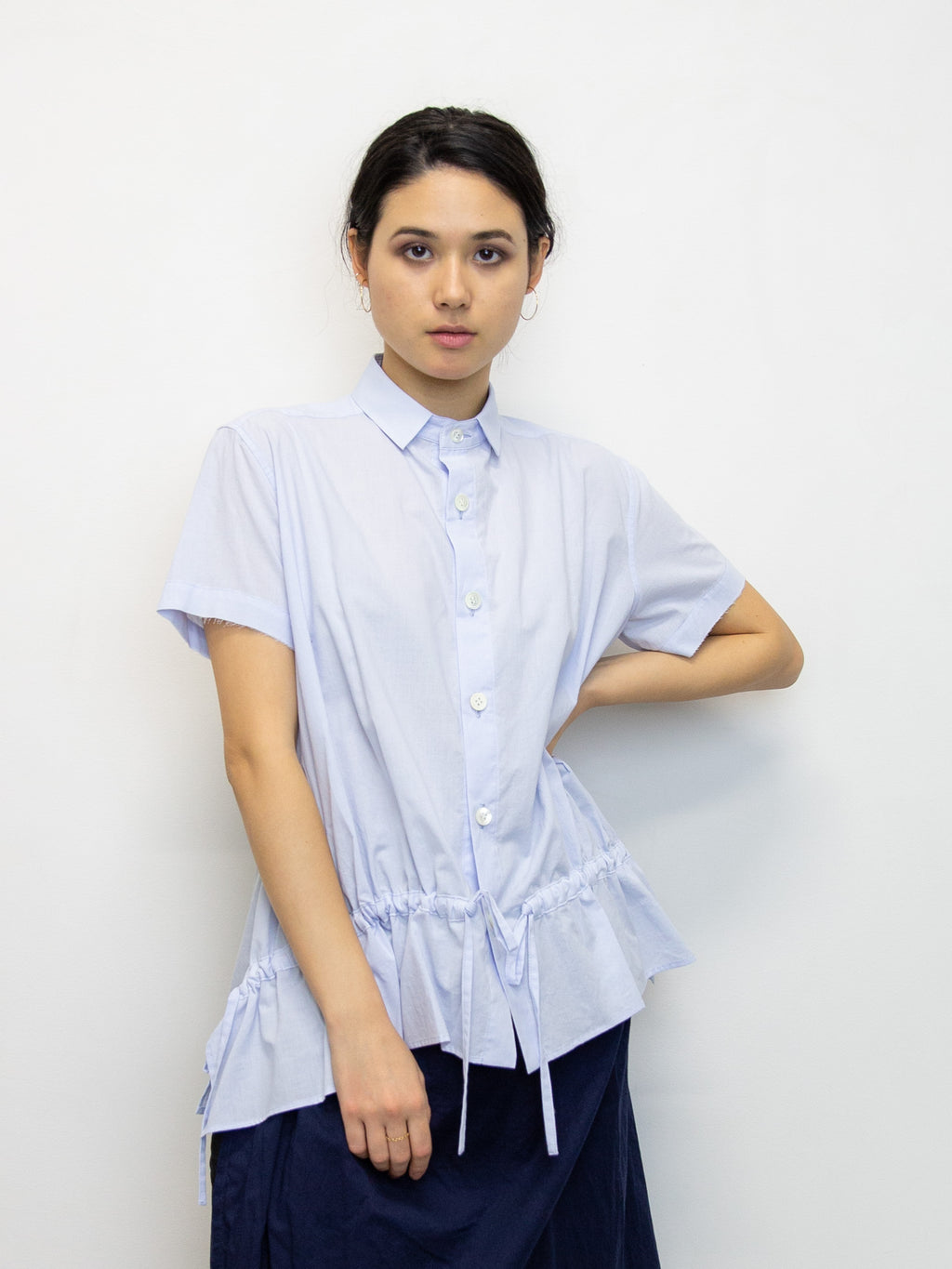 Y'S Adjustable Tie Short Sleeve Shirt