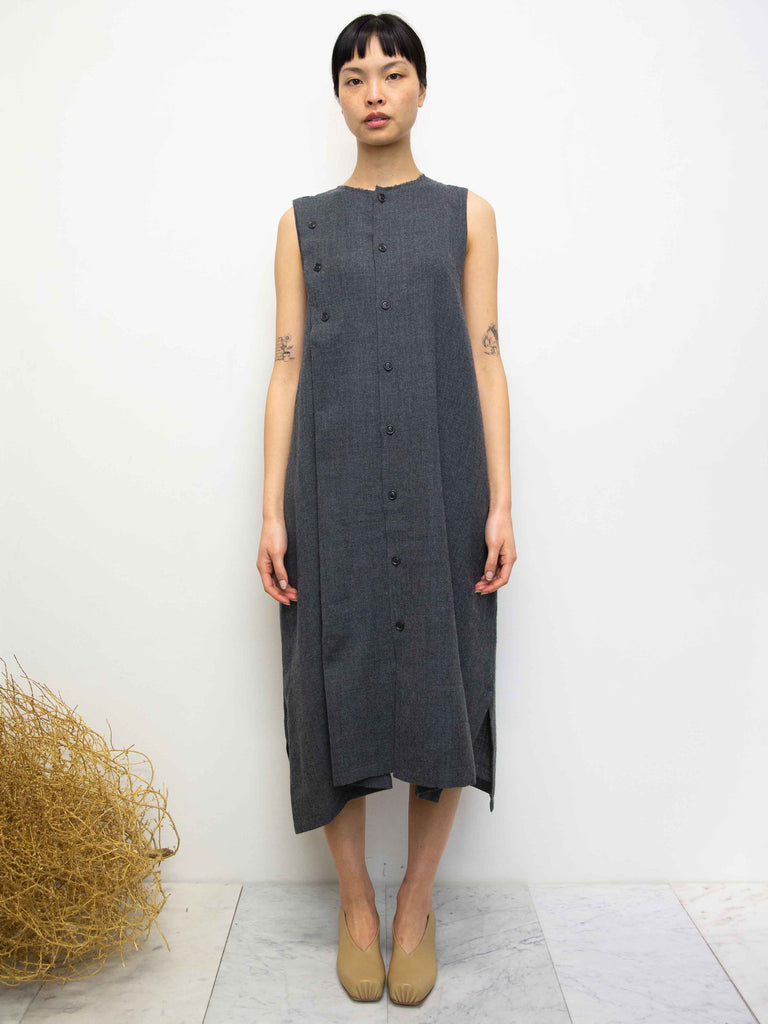 Y's Asymmetric Button Wool Gauze Twill Dress - Charcoal