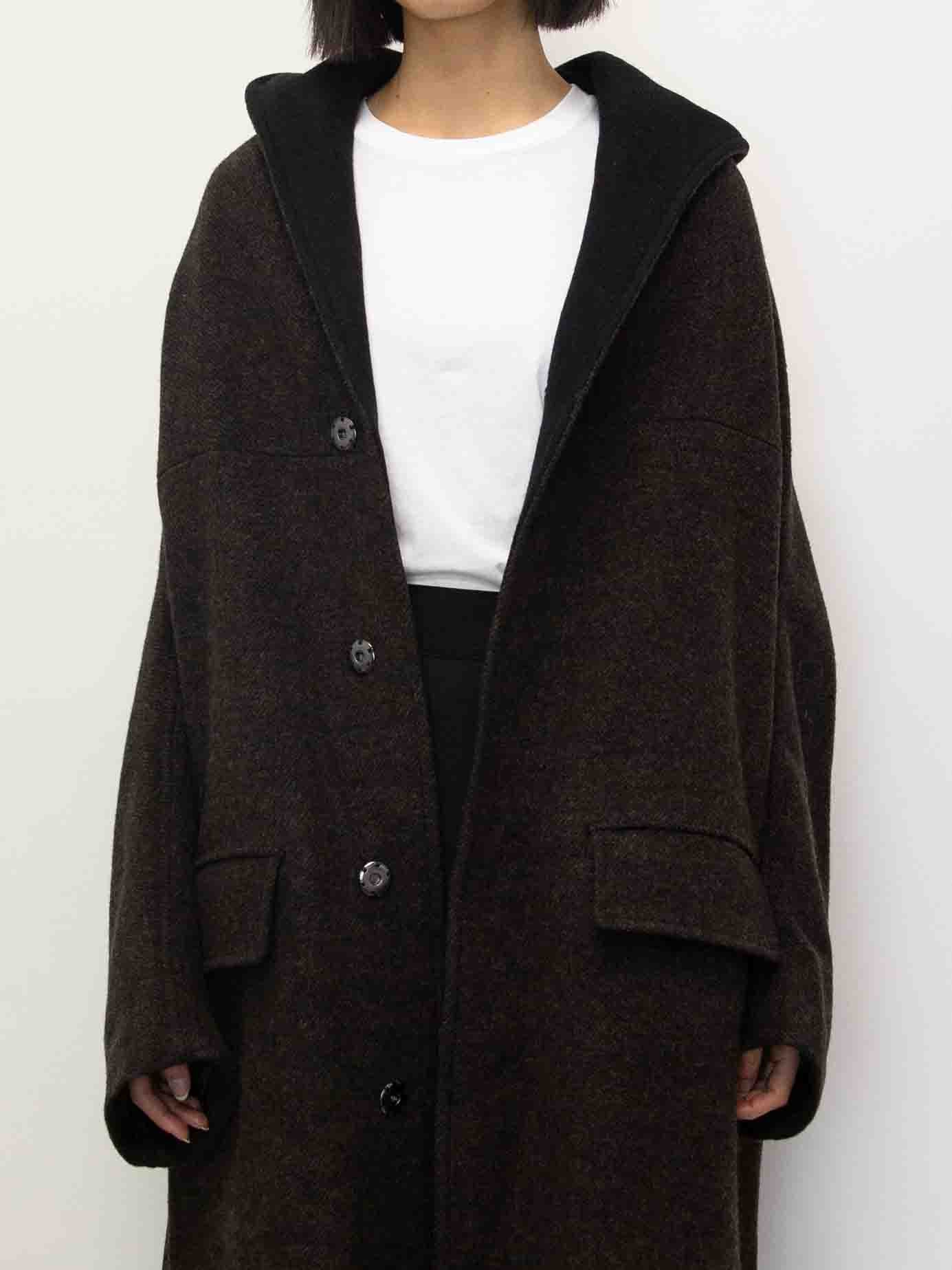 Y's Double Face Hood Wool Coat