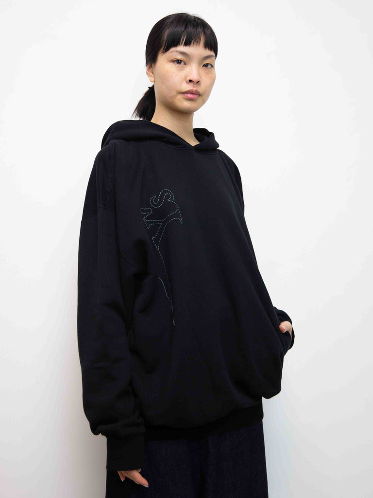 Embroidered Back Zip Jumper with Hood - Black