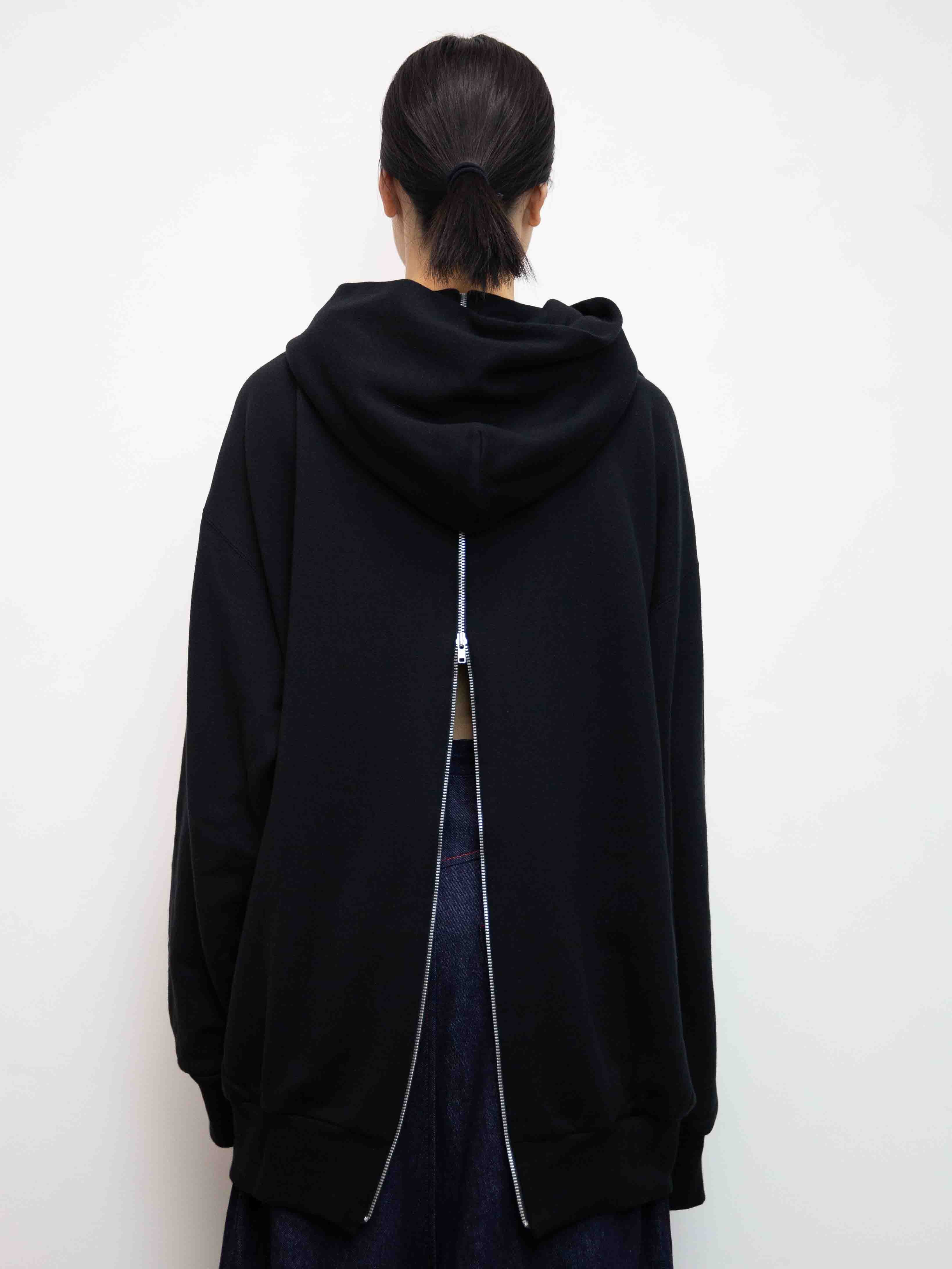 Y's Embroidered Back Zip Jumper with Hood - Black