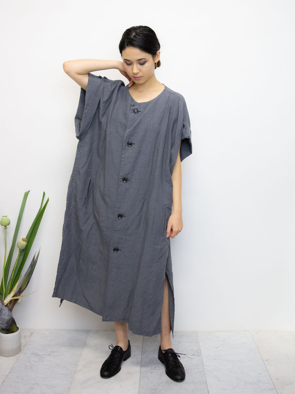Y'S Linen Folded Sleeve Dress