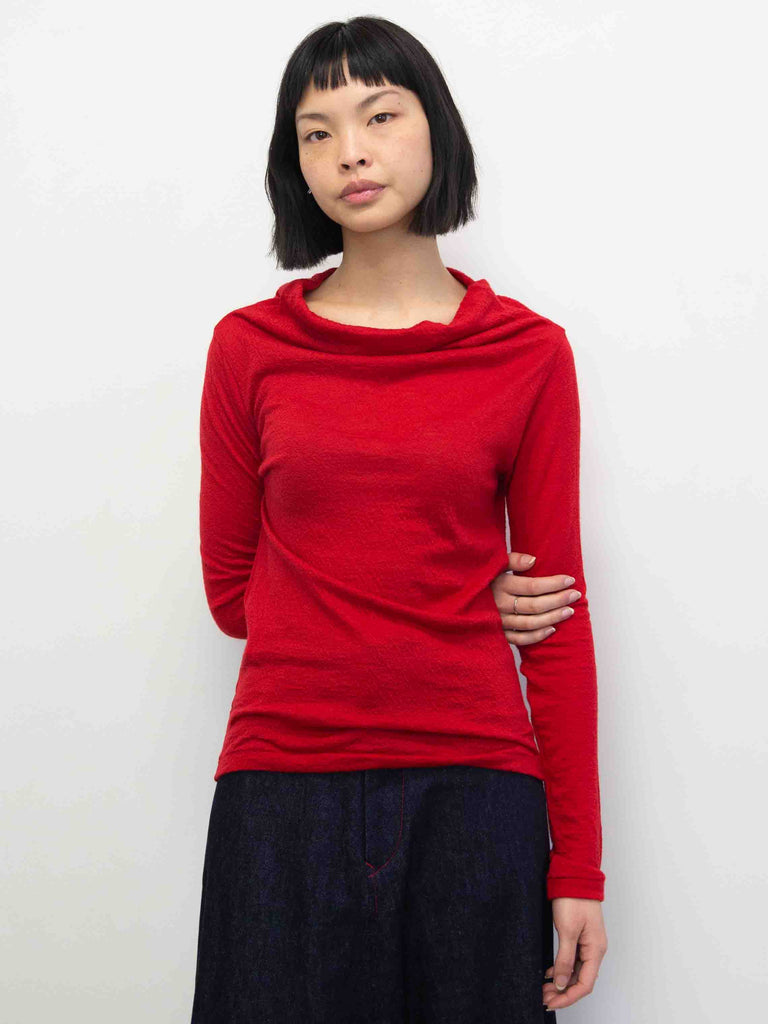 Off Turtleneck Long Sleeve Alpaca Top