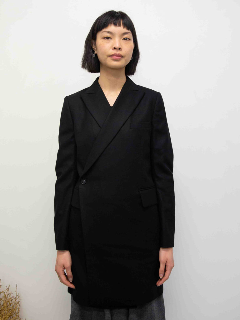 Y's Robe Wool Flannel Coat - Black