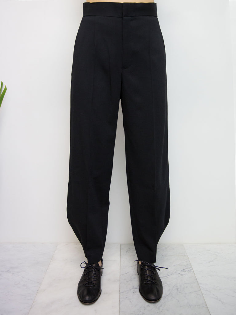 Y'S Tailored Wool Curved Hem Pant