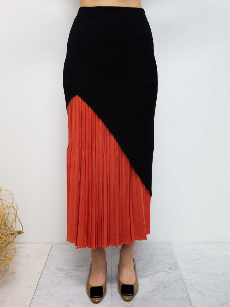 Slant Pleats Long Skirt