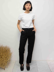 Tapered Wool Gauze Twill Pants - Black