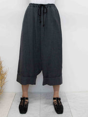 Wide Sarouel Wool Gauze Twill Pants - Charcoal