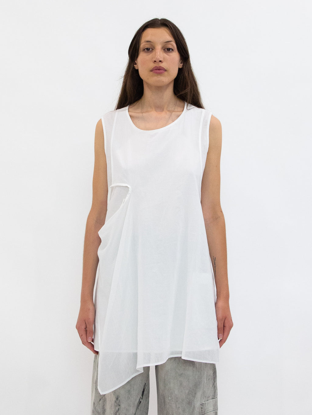 Layered Cotton Asymmetric Tie Tunic - White
