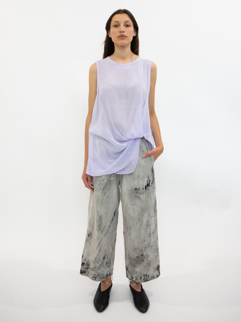 Front Tucked Gauze Tank Top - Lavender