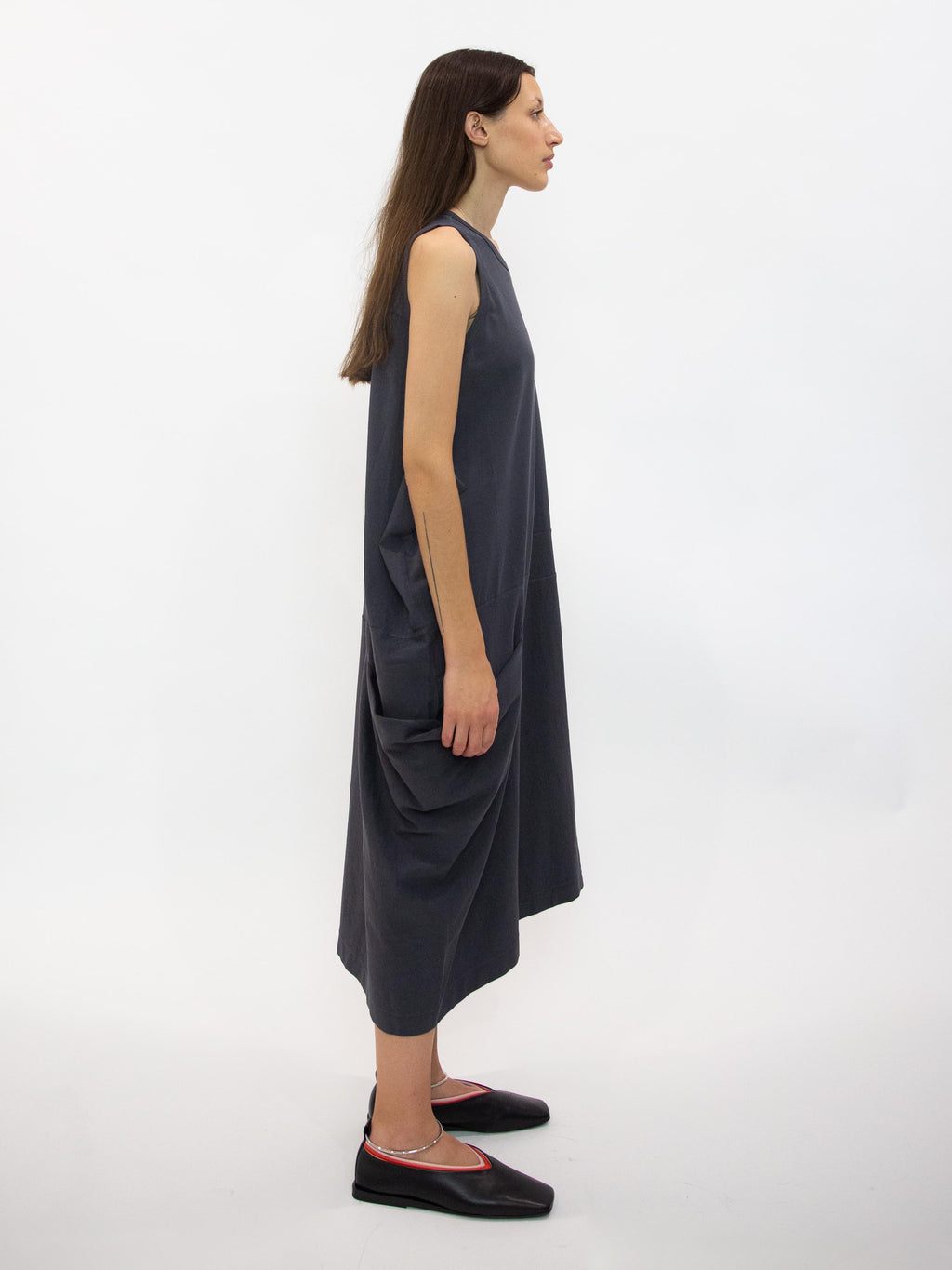 Panel Detail Sleeveless Tank Dress - Charcoal