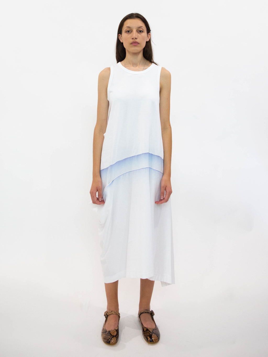 Y's Panel Detail Sleeveless Tank Dress - White