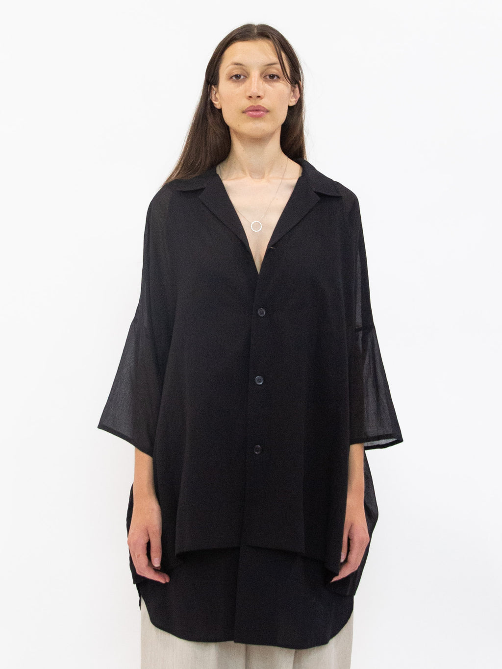 Cotton Half Sleeve Overshirt - Black