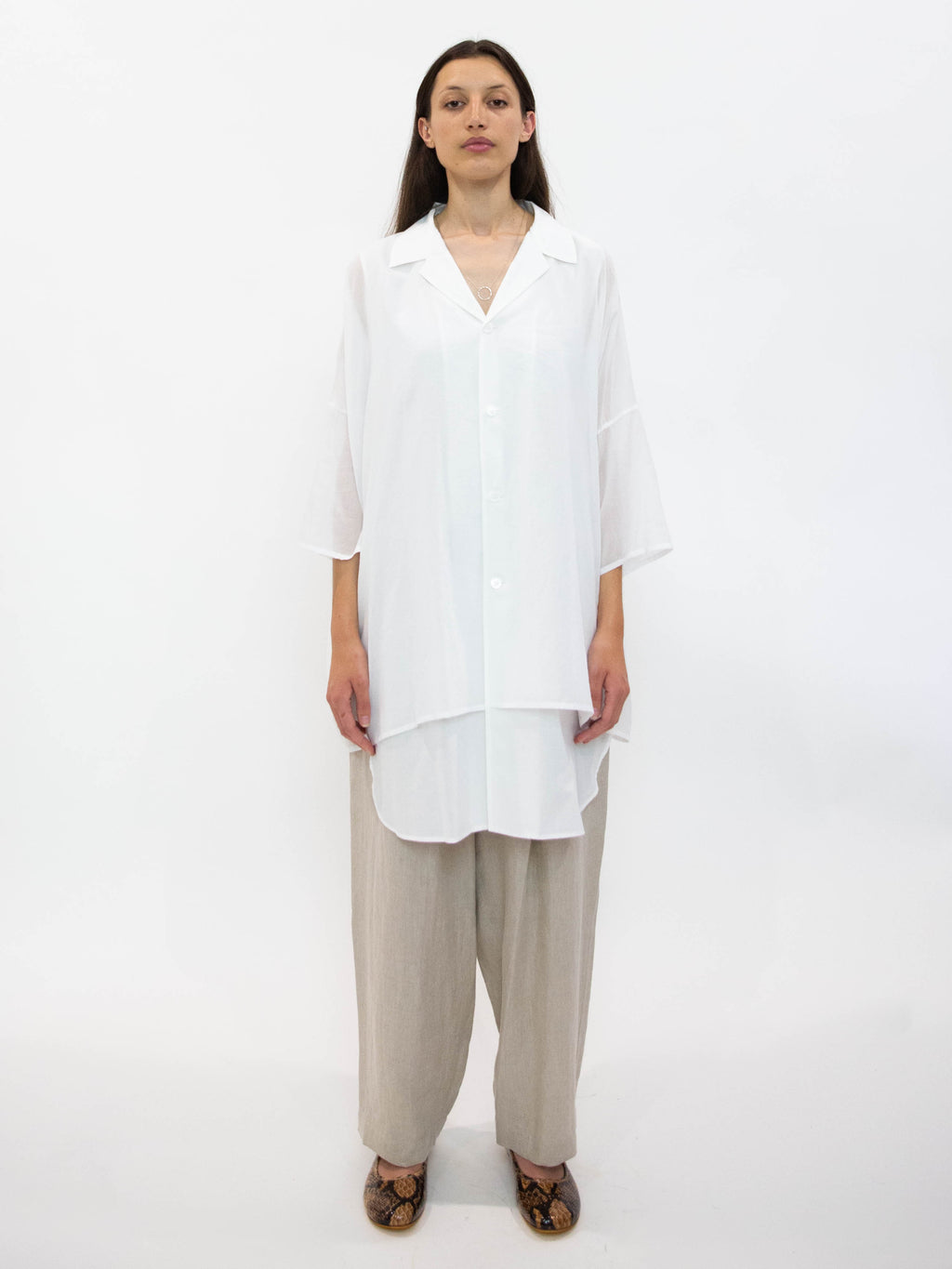 Y's Cotton Half Sleeve Overshirt - White