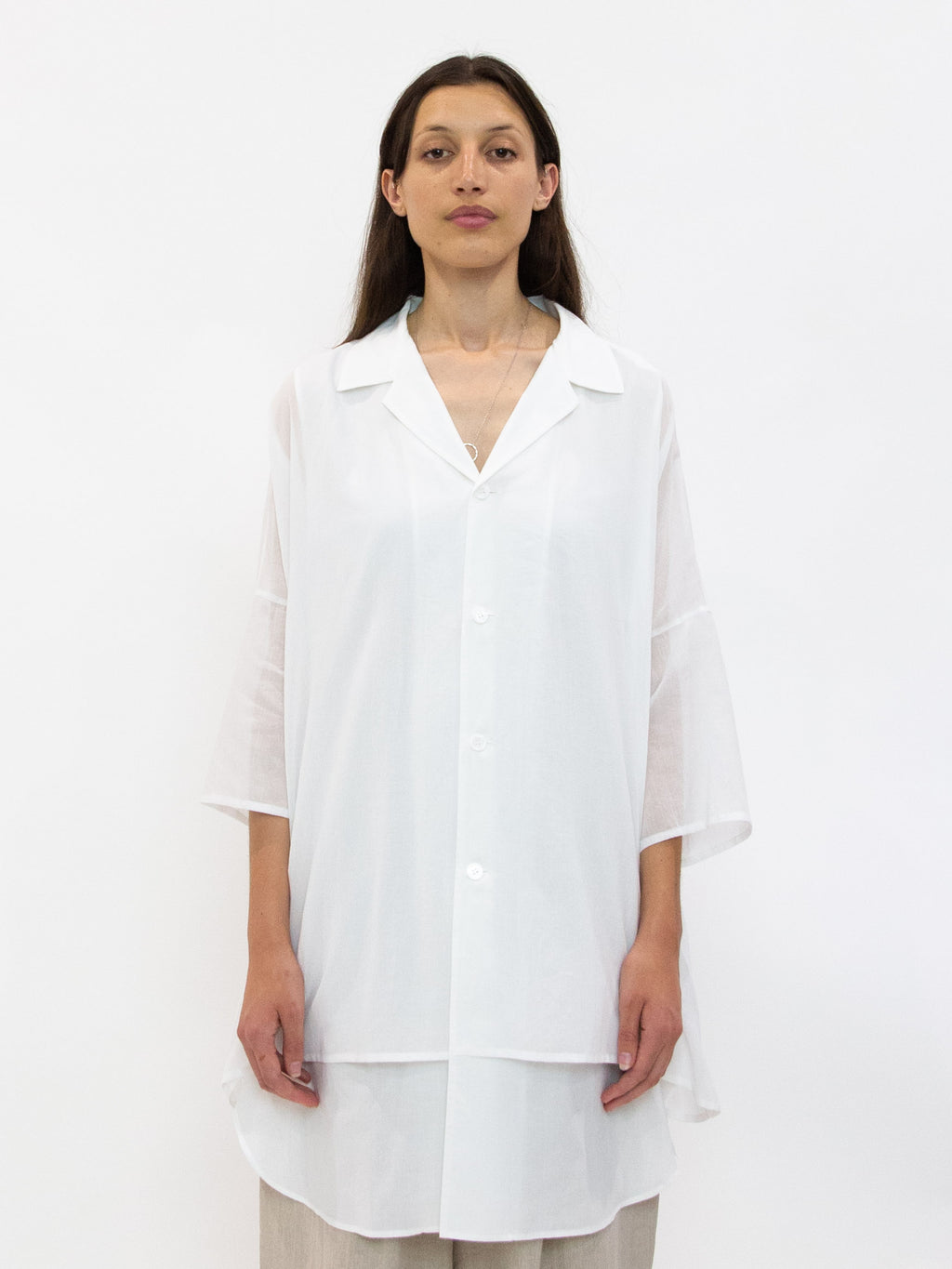 Cotton Half Sleeve Overshirt - White