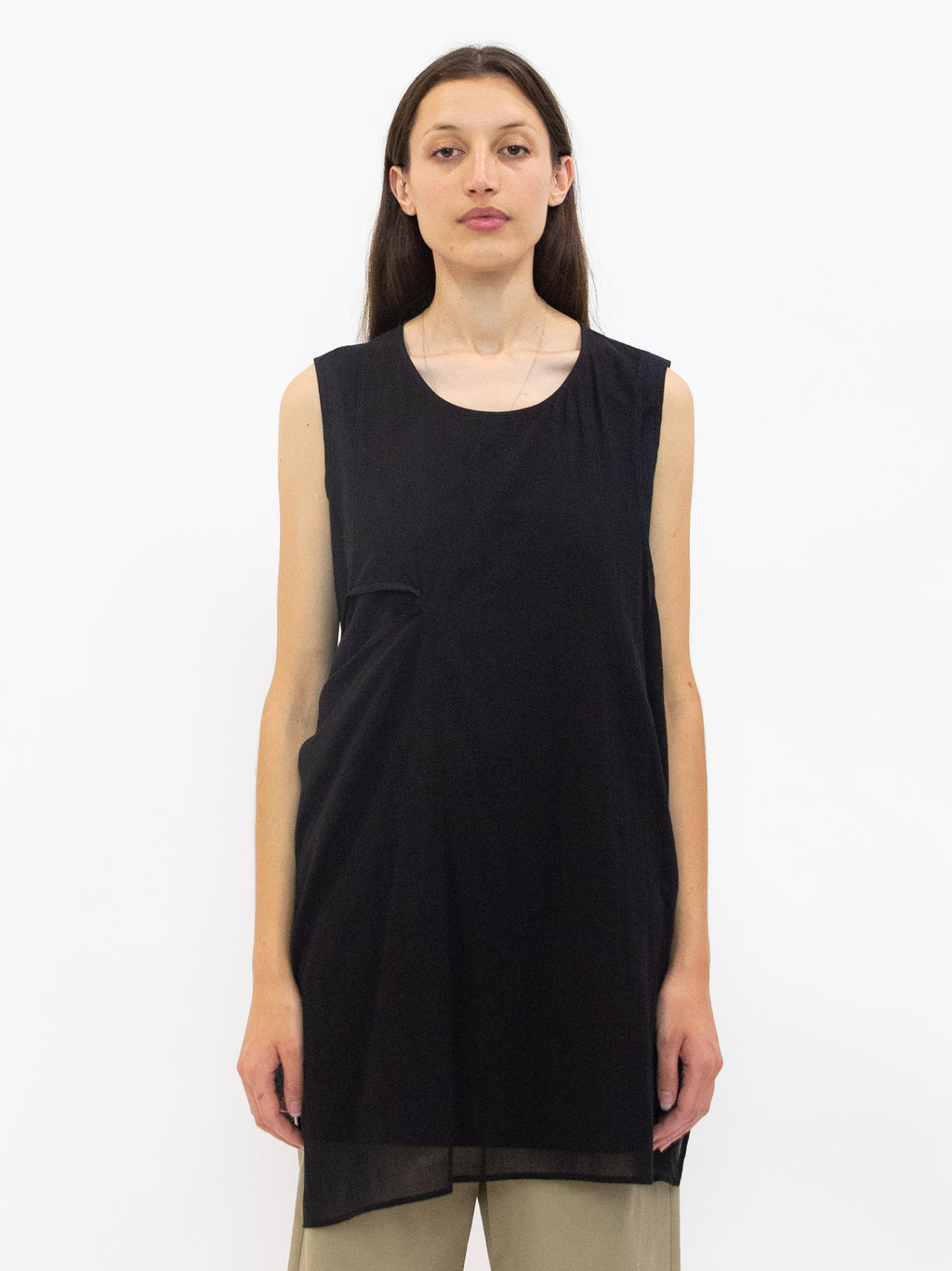 Layered Cotton Asymmetric Tie Tunic - Black