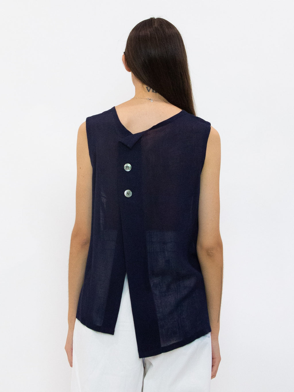 Front Tucked Gauze Tank Top - Navy