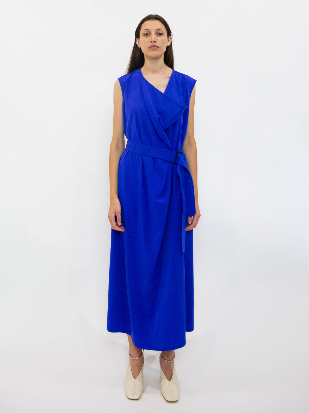 Y's Trench Belted Cowl Neck Dress - Blue