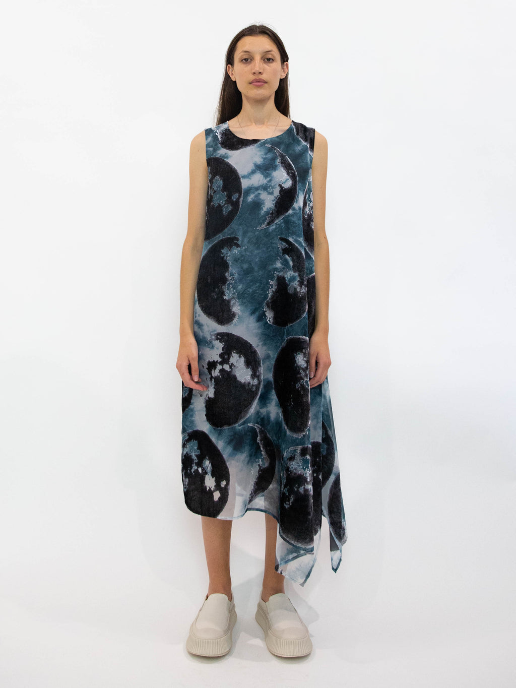 Velvet Devore Asymmetric Sleeveless Dress