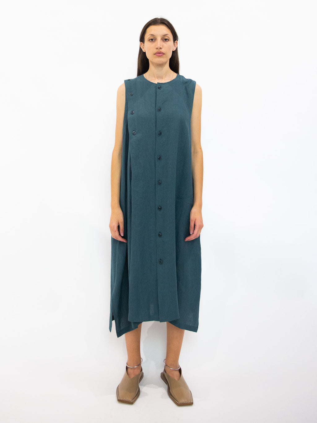 Y's Linen Asymmetric Button Dress