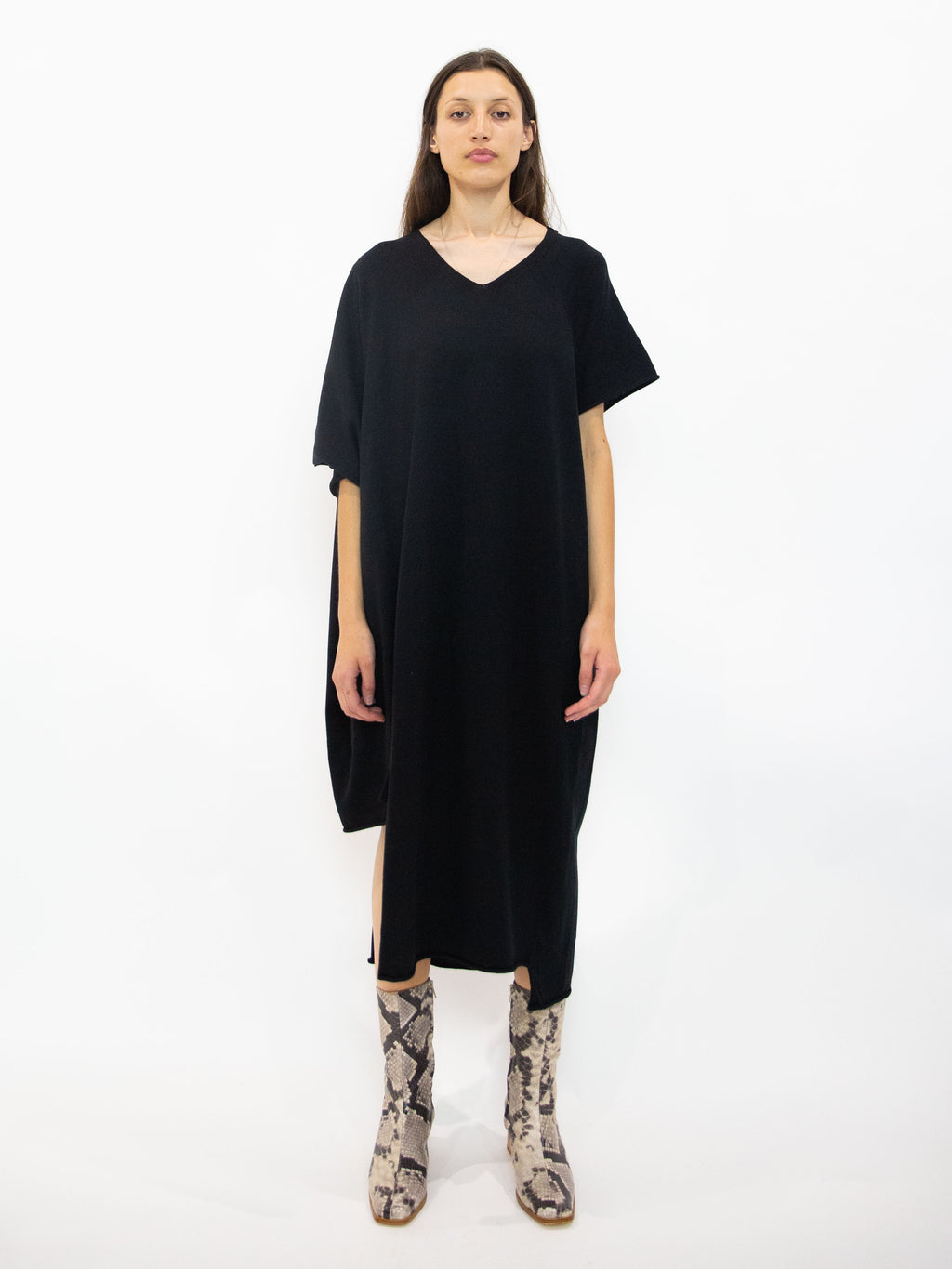 Asymmetric Sleeve Knit Dress