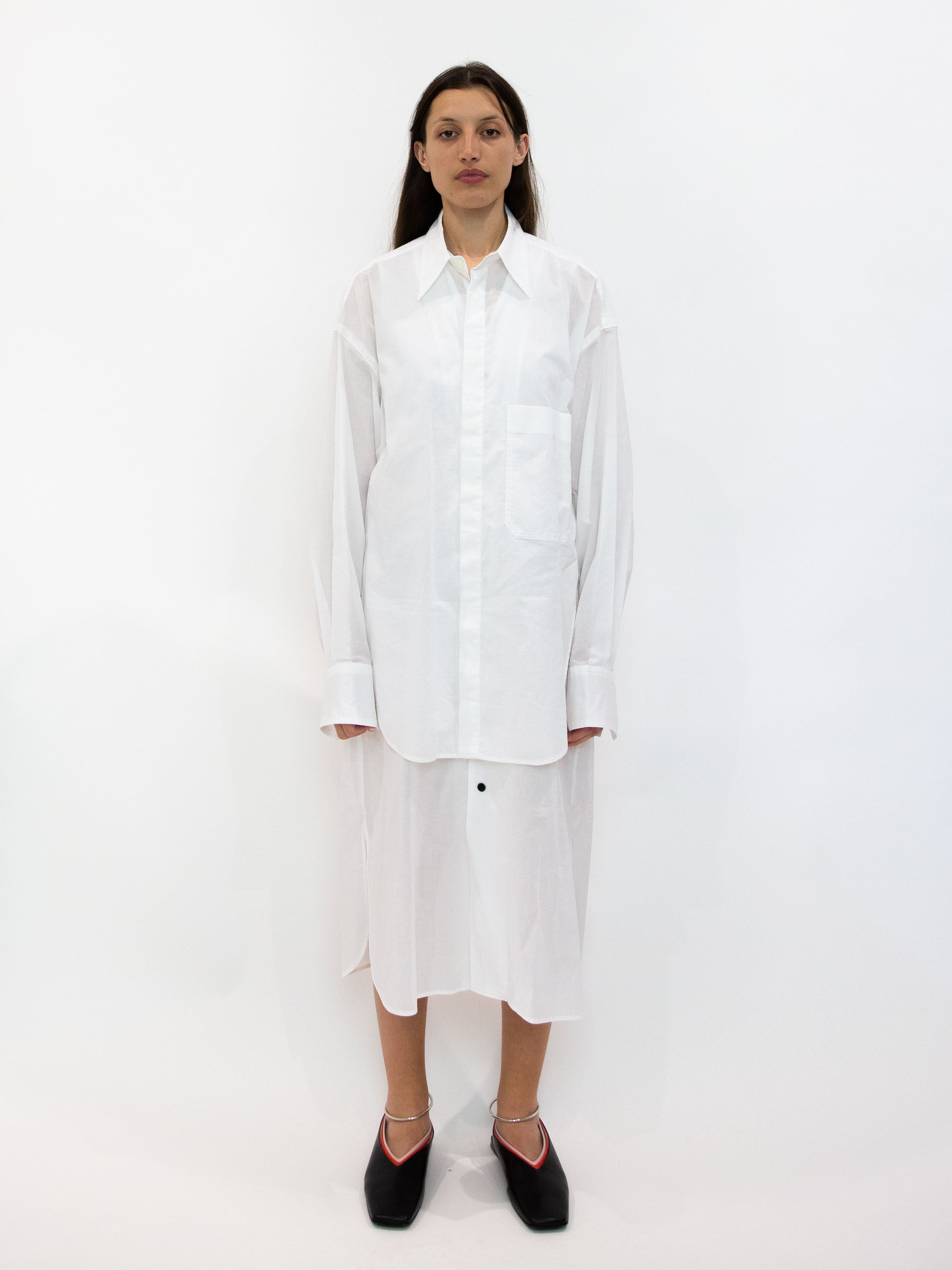 Layered Long Line Shirt Dress - White