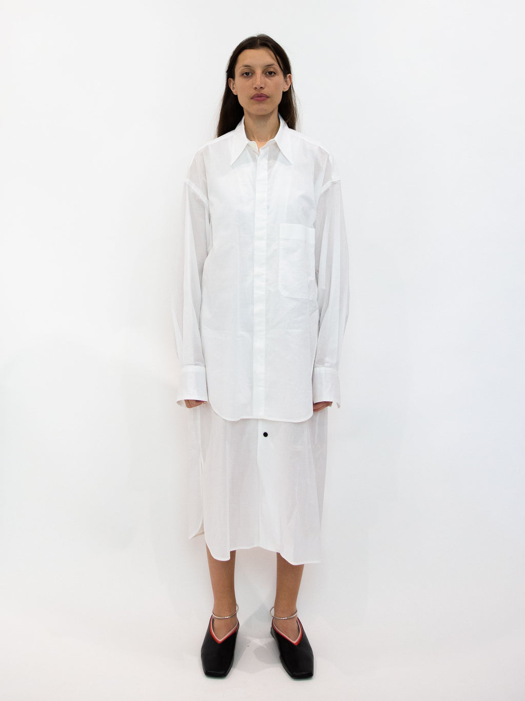 Y's Layered Long Line Shirt Dress - White