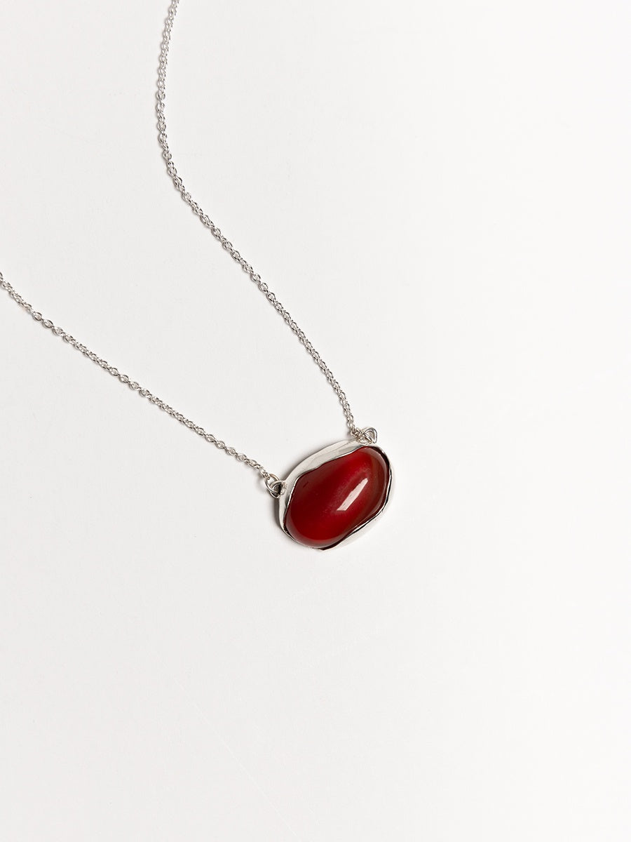 FARIS OVO Necklace - Sterling Silver & Carnelian