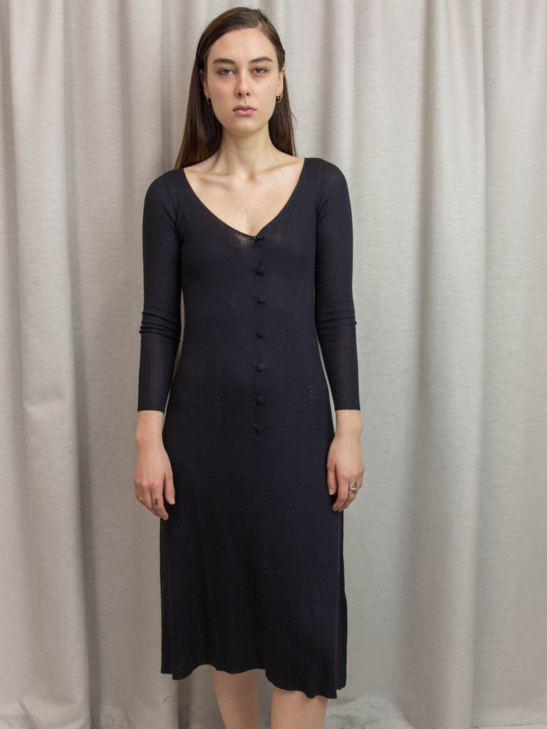 RYAN ROCHE Buttoned Knit Dress - Black