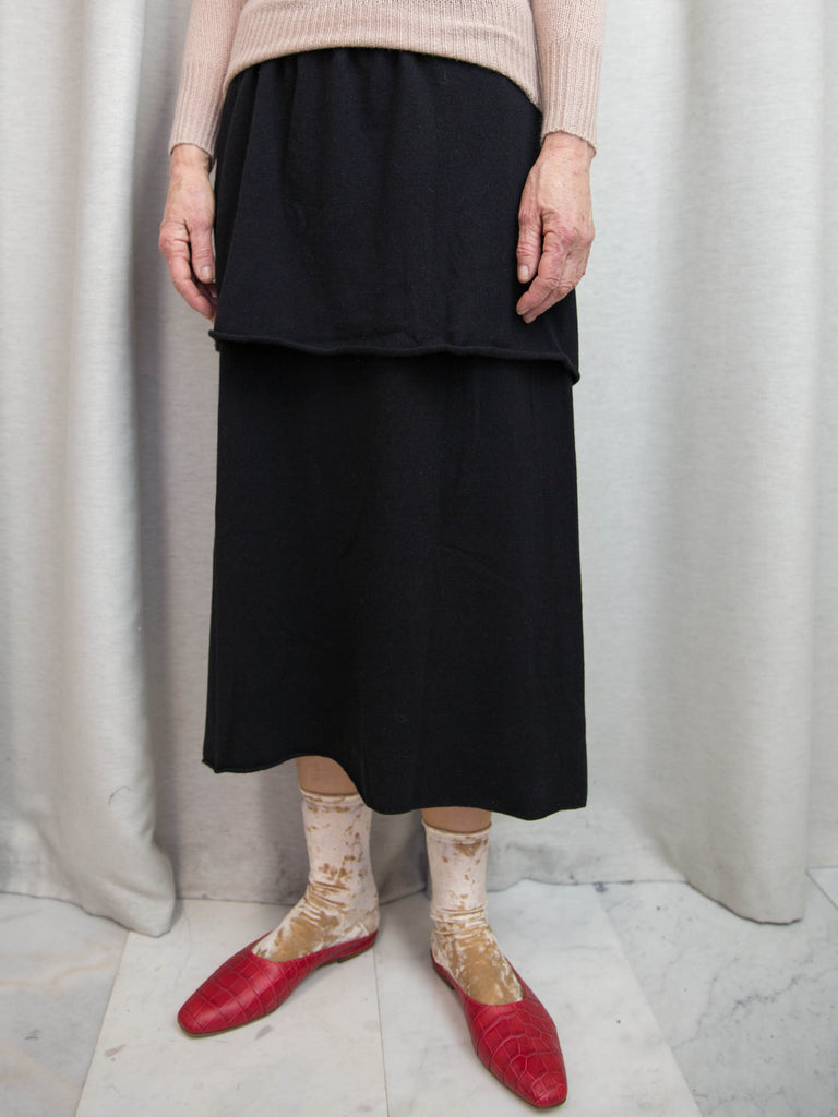 RYAN ROCHE Ruffle Tier Knit Skirt - Black