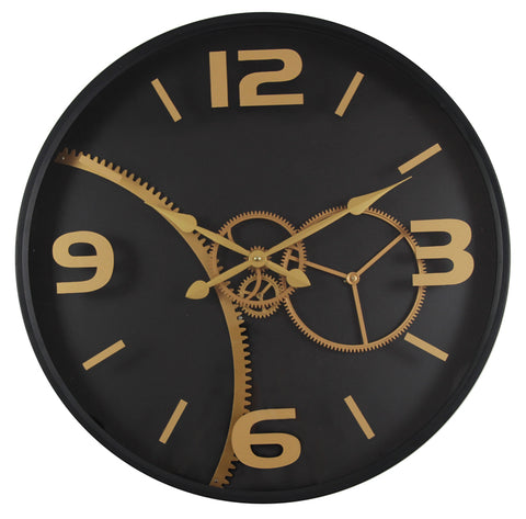 59 Cm  Gold Chuming Process Moving Gear Wall clock