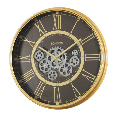 54.5 Cm London Roman Numeral  Moving Gold Gear Wall Clock