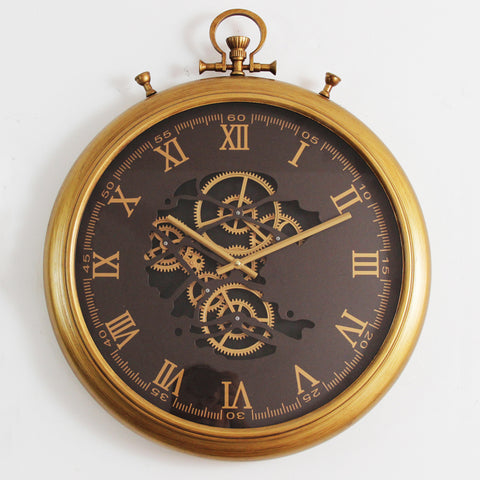 62 Cm Roman Numeral Vintage Gold Moving Gear Wall Clock (coming soon)