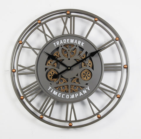 TRADEMARK 60.5  Cm Grey & Gold Roman Nomeral Outdoor Moving Gear Wall Clock (coming soon)