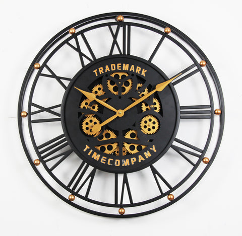 TRADEMARK 60.5 Cm Black & Gold Roman Numeral Moving Gear Wall Clock