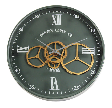 Boston CC 40 Cm Roman Nomeral Moving Gear Wall Clock